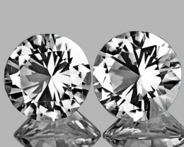 4.50 mm Round 2 pcs 1.11ct White Zircon [VVS]