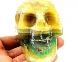 Genuine 2239 Cts Multicolor Fluorite Hand Carved Skull