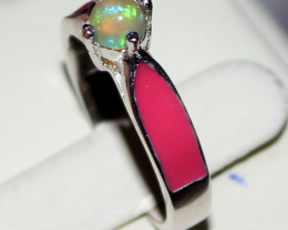 Natural Ethiopian Welo Opal 925 Silver Ring 27