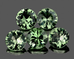 3.40 mm Round 5 pcs 1.08cts Green Sapphire [VVS]