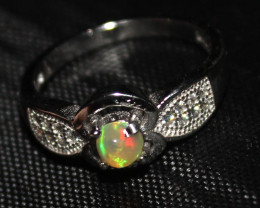 Natural Ethiopian Welo Opal 925 Silver Ring 51
