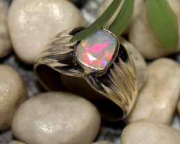 Natural Ethiopian Welo Faceted Opal 925 Silver Ring 38