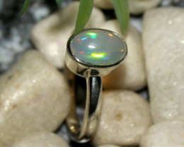 Natural Ethiopian Welo Opal 925 Silver Ring 43