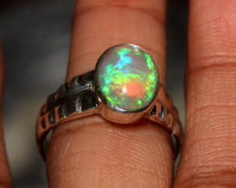 Natural Ethiopian Welo Opal 925 Silver Ring 42