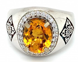 Madeira Citrine 2.60ct Platinum Finish Solid 925 Sterling Silver Ring