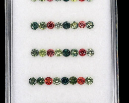 3.76ct. 2.5-2.7mm 40pcs. Round Diamond Cut 100% Natural Multi-Color Sapphir