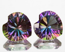 ~CONCAVE~ 4.50 Cts Natural Rainbow Mystic Topaz 8mm Heart 2Pcs Brazil
