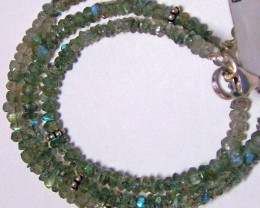 42 CTS LABRADORITE FACETED BEADS NECKLACE  3MM ADG-825