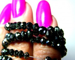 48.5 CTS  BLACK DIAMOND FACETED BEADS 4MM HIGH QUALITY SG-258
