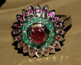 Natural Ruby Emerald 925 Silver Ring Size (10) 19