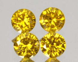 ~SET~ 0.04 Cts Natural Sparkling Yellow Diamond 4Pcs Round Africa