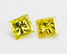 0.06 Cts Natural Diamond Golden Yellow 2Pcs Princess Cut Africa