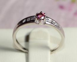 Natural Rhodolite Garnet 925 Silver Ring 213
