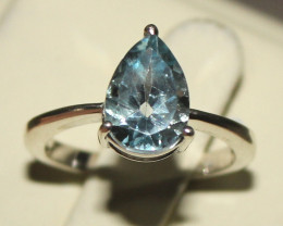 Natural Blue Topaz 925 Silver Ring 5