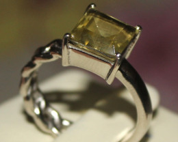 Natural Citrine 925 Silver Ring 7