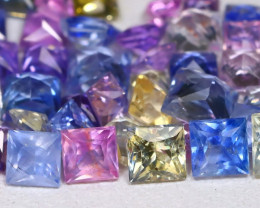 6.31Ct Princess 3.2mm Natural Untreated Fancy Color Sapphire Lot A1809