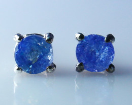 4.10 Cts Natural - Unheated Blue Tanzanite Earring