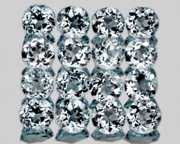 2.20 mm Round 20pcs 0.83ct Light Blue Aquamarine [VVS]