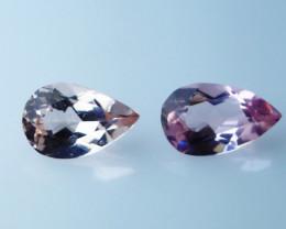 GGTI-Certified 0.65 ct Peach Morganite Gemstone Natural Pair
