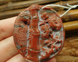 Red jasper carved parrot pendant jewelry (G2574)