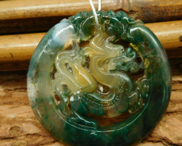 Carved moss agate dragon pendant (G2575)