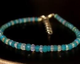 23 Crts Natural Ethiopian Welo Blue & White Faceted Opal Bracelet 241