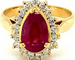 Burmese Ruby 2.82ct Natural Diamonds Solid 18K Yellow Gold Ring