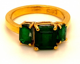 Emerald 3.20ct Solid 22K Yellow Gold Multistone Ring