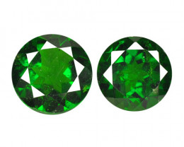 1.98 Cts  2 Pcs Natural Green Color Chrome Diopside Loose Gemstone