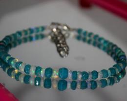 25 Crts Natural Ethiopian Welo Blue & White Faceted Opal Bracelet 247
