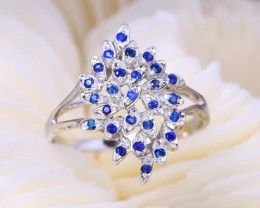 Peacock Design Natural Blue Sapphire 925 Sterling Silver Women Ring A1908