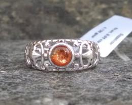 Sunstone filigree Sterling silver ring #101