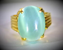 Cats Eye Green Calcite 18.75ct Solid 18K Yellow Gold Ring
