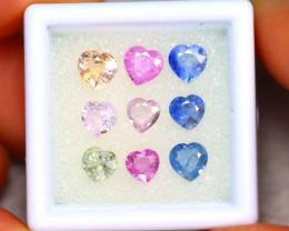 Unheated Sapphire 4.28Ct 9Pcs Natural Heart Shape Fancy Sapphire ER446/B32