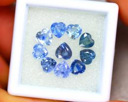 Unheated Sapphire 4.82Ct 10Pcs Natural Heart Shape Blue Sapphire  ER448/B32