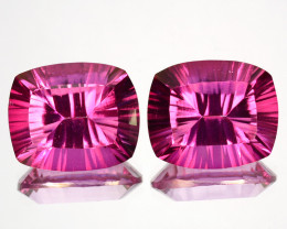 ~Matching pair~ 12.12 Cts Candy Pink Natural Topaz  12 X 10mm Cushion Conca