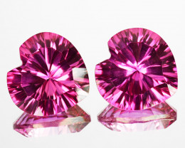 ~LOVELY~ 4.38Cts Candy Pink Natural Topaz 8mm Heart Concave Cut 2Pcs Bra