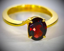 Malaya Garnet 2.00ct Solid 18K Yellow Gold Ring