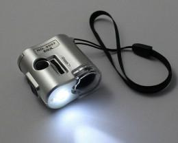 60X Microscope Jeweler Loupe Lens Mini Pocket Magnifier Glass With LED UV L