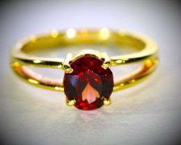 Malaya Garnet 2.29ct Solid 18K Yellow Gold Ring