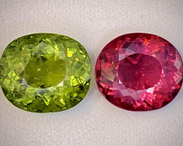 FINE CUTS 18.32ct Red Rubellite and Top Green Tourmaline Lot -  2 Pcs