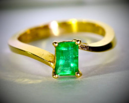 Panjshir Emerald 1.01ct Solid 22K Yellow Gold Ring