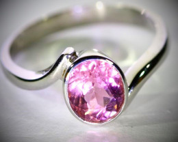 Pink Tourmaline 1.35ct Solid 18K White Gold Ring