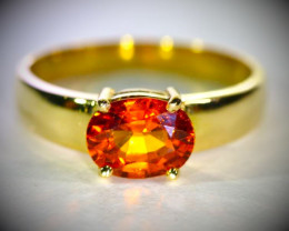 Spessartine 2.08ct Solid 18K Yellow Gold Ring