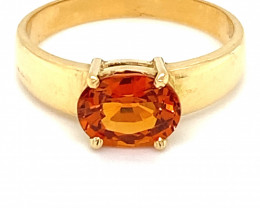 Spessartine 2.08ct Solid 18K Yellow Gold Ring