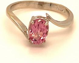 Pink Tajik Spinel 1.25ct Solid 18K White Gold Ring