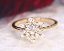 Snowflake Design Natural Diamond D VS 9K Yellow Gold Ring J01R