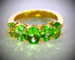 Tsavorite 3.27ct Solid 22K Yellow Gold Multistone Ring