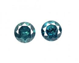 0.16 Cts 2 Pcs Sparkling Rare Fancy  Blue Color Natural Loose Diamond