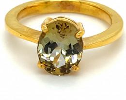 Yellow Tanzanite 3.25ct Solid 18K Yellow Gold Ring